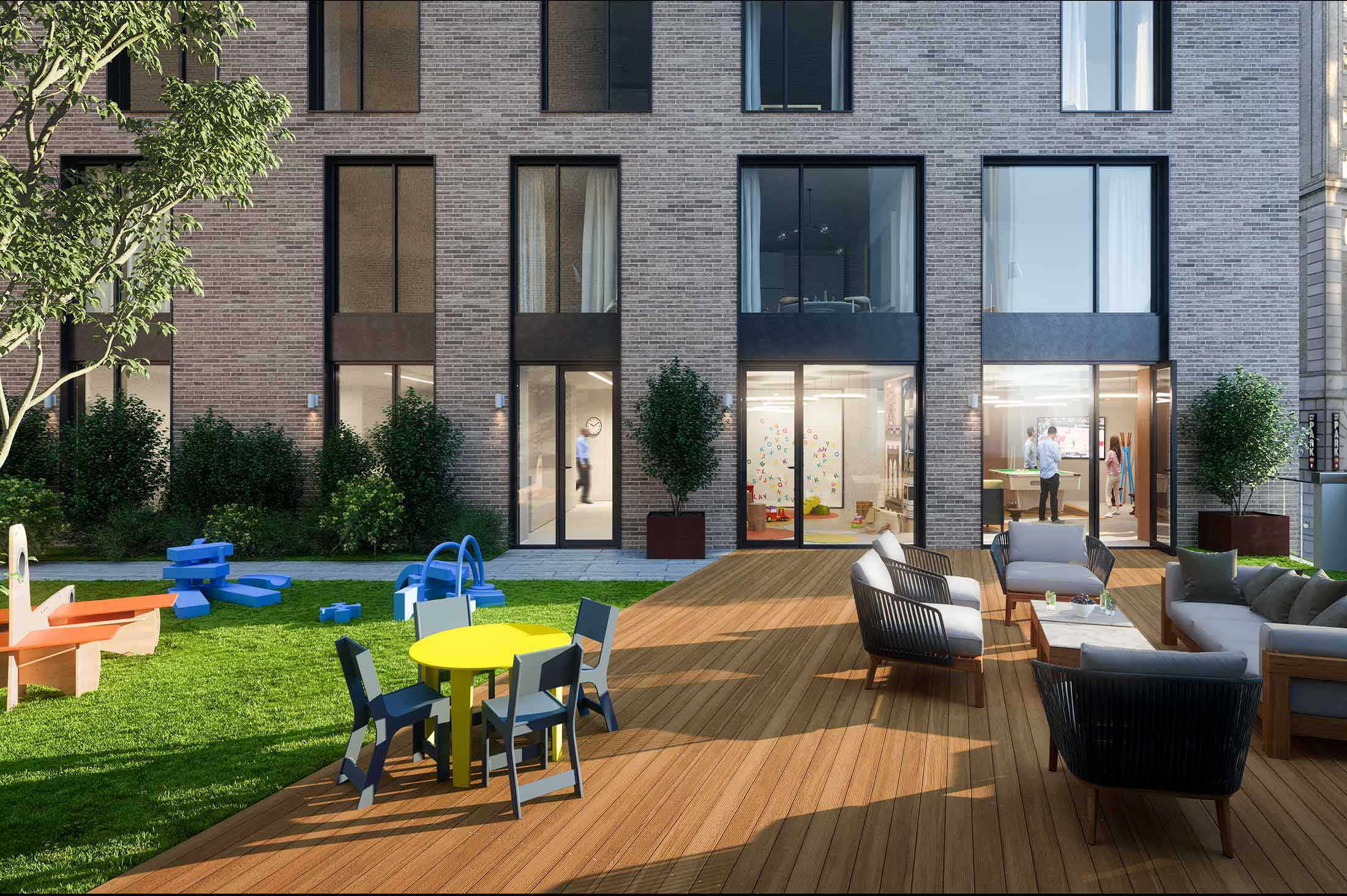 Atop The Building A Furnished Rooftop Terrace With Grills Shuffleboard And Views Of Downtown Brooklyn Manhattan Skyline Offer Welcome Place To